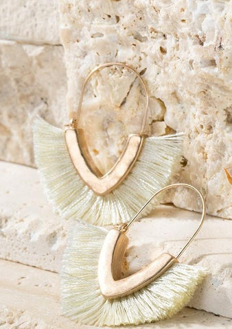 Hammered Metal Ivory Tassel Hoop Earrings