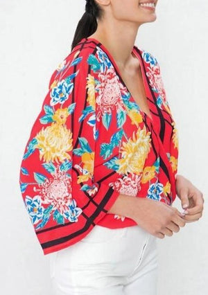 Floral Surplice Kimono Sleeve top ~FINAL SALE