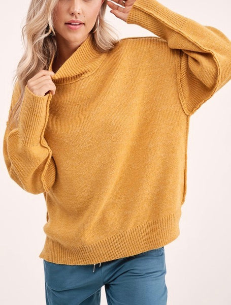 Mallory Mustard Mock-neck Sweater