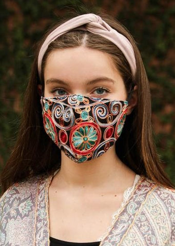 Black Floral Embroidered Face Mask