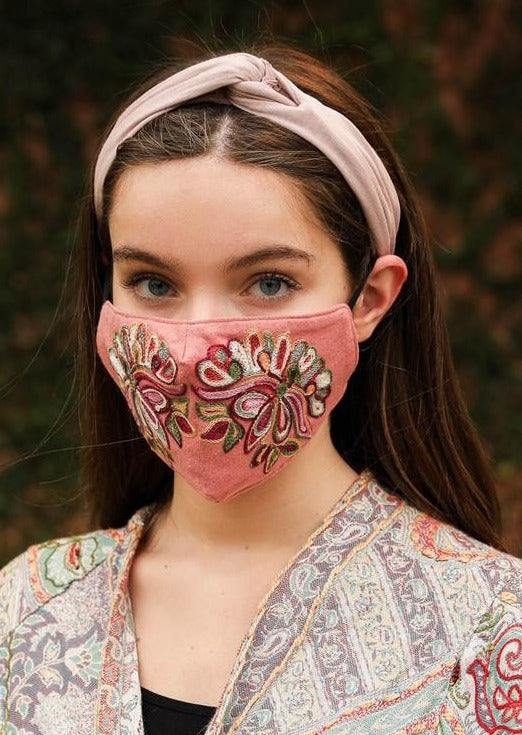 Dusty Rose Embroidered Face Mask