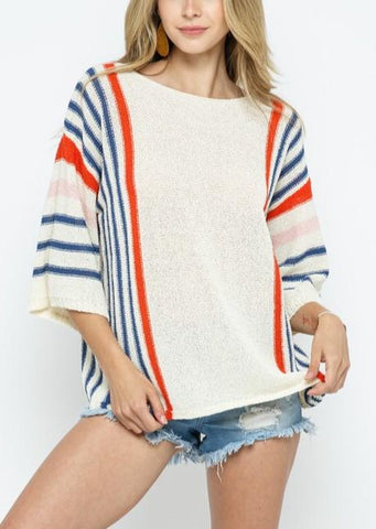 Side Striped Knit Pullover Top