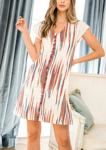 Firecracker Embroidered Cap Sleeve Shift Dress