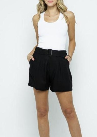 Classic Black High Waist Linen Belted Shorts