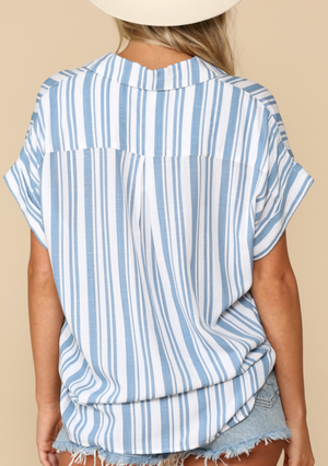 Skies are Blue Striped Button-down Top