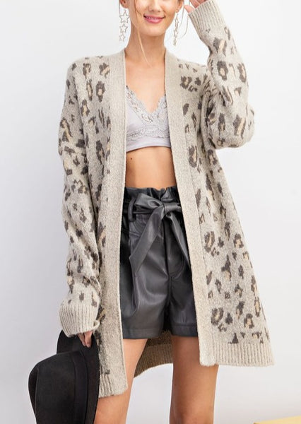 Long Leopard Print Cardigan Sweater