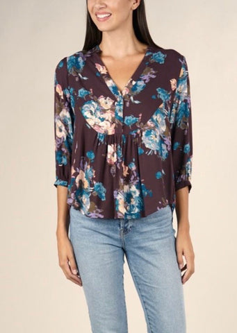 Raven Raisin Floral Top