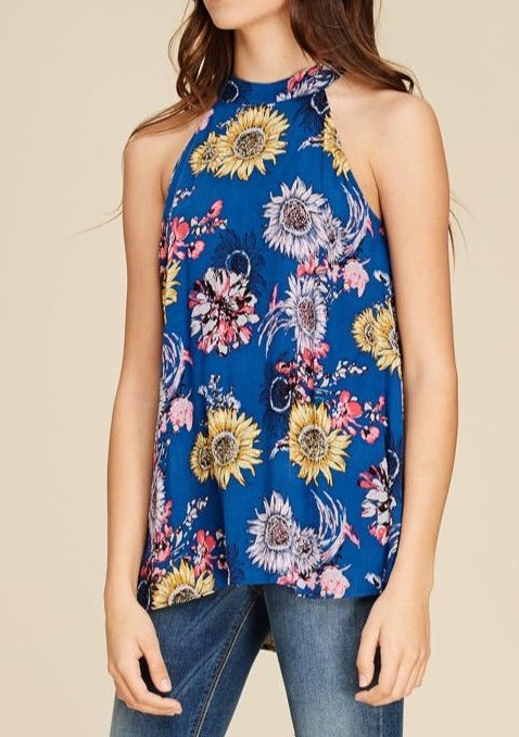 Sunflower Floral Print Halter Neck Top ~FINAL SALE