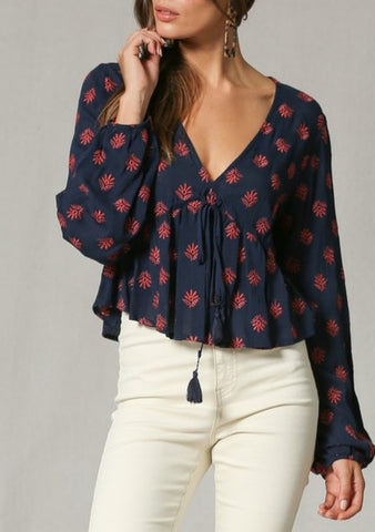 Erica Embroidered Synch Tie Top