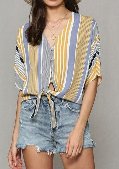 Reason to Relax Striped Front Tie Top