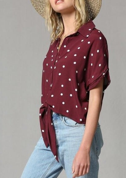 Pardon My Polka Dots Front Tie Top