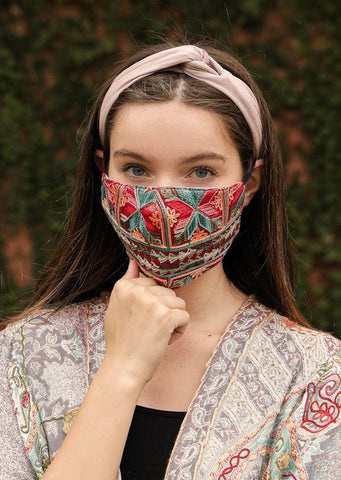 Geometric Embroidered Face Mask