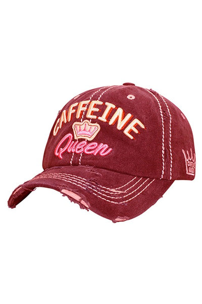 Caffeine Queen Embroidered Baseball Hat Cap