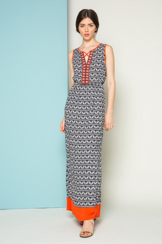 Josie Embroidered Printed Sleeveless Maxi Dress
