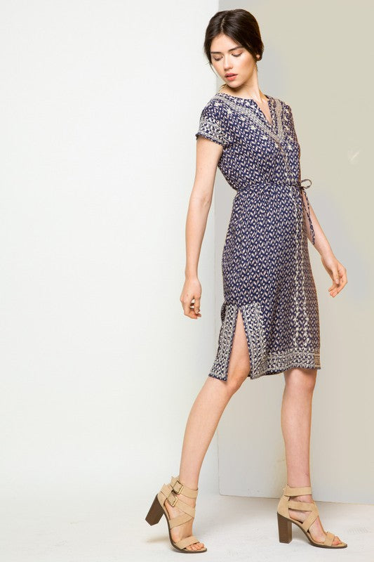 Kathleen Embroidered Short Sleeve Printed Shift Dress