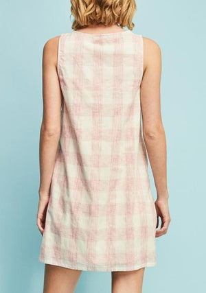 Checkered Embroidered Shift Dress  ~ FINAL SALE