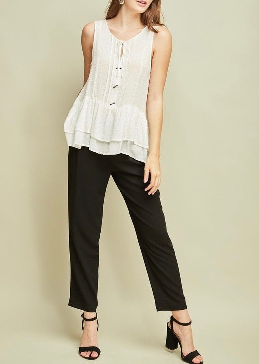 Ivory Dotted Ruffle Hem Top