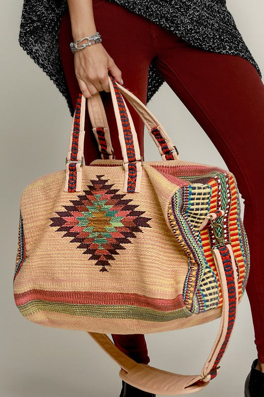 Aztec Print Weekender Travel Tote Bag
