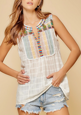 Can't Touch This Southwestern Cactus Embroidered Top