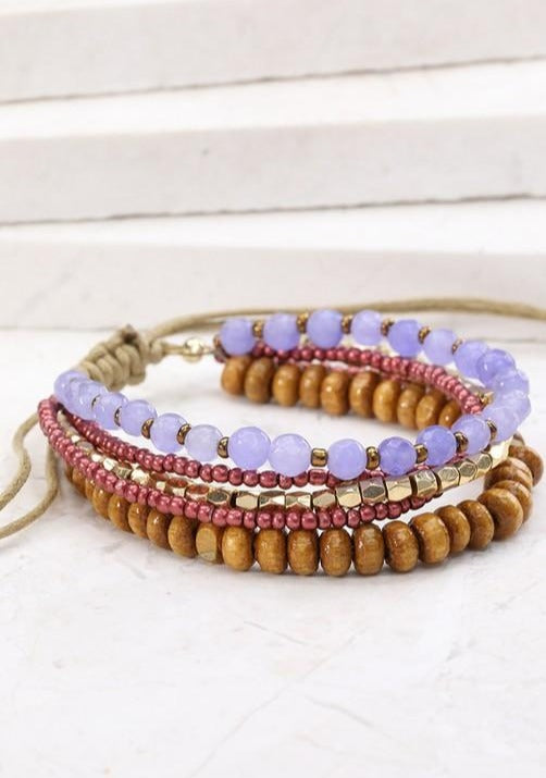 Layered Beaded Pull Tie Bracelet