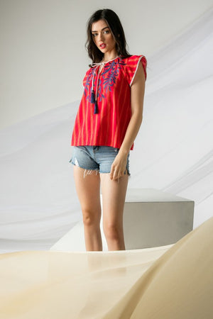 Ronnie Red Embroidered Tassel Top by THML