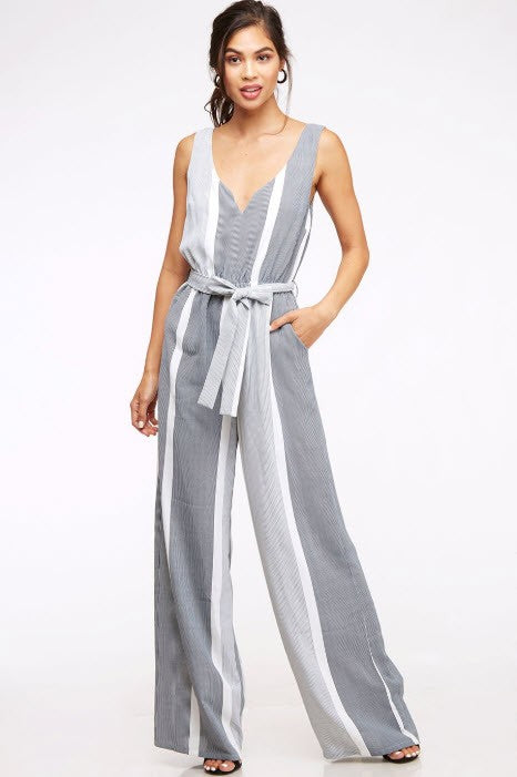Jasmine Wide Leg Striped Jumpsuit