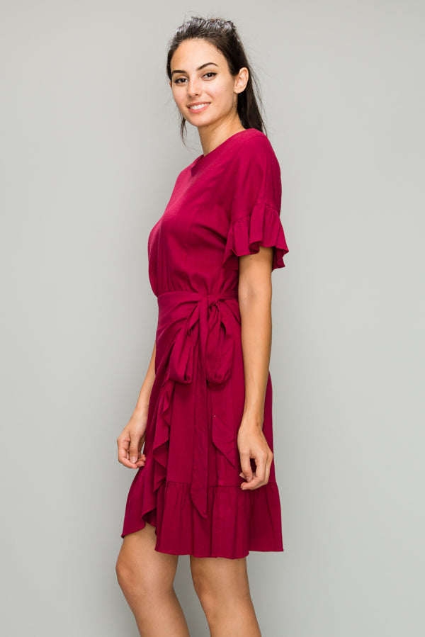 Sarah Ruffle Hem Wrap Dress