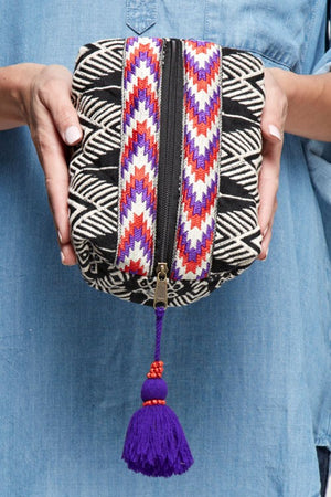 Deanna Tonal Printed Origami make-up bag with tassel zipper pull