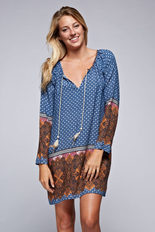 Paisley Tunic Dress with Feather Tassels