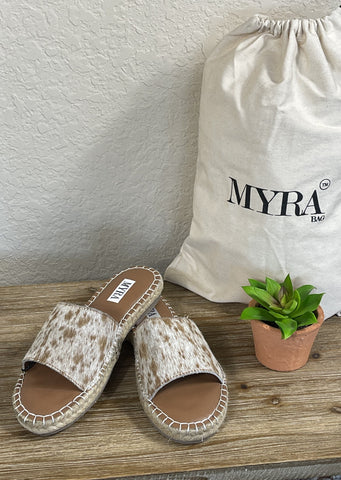 Myra Spruce it Up Leather Cowhide Flat Sandals