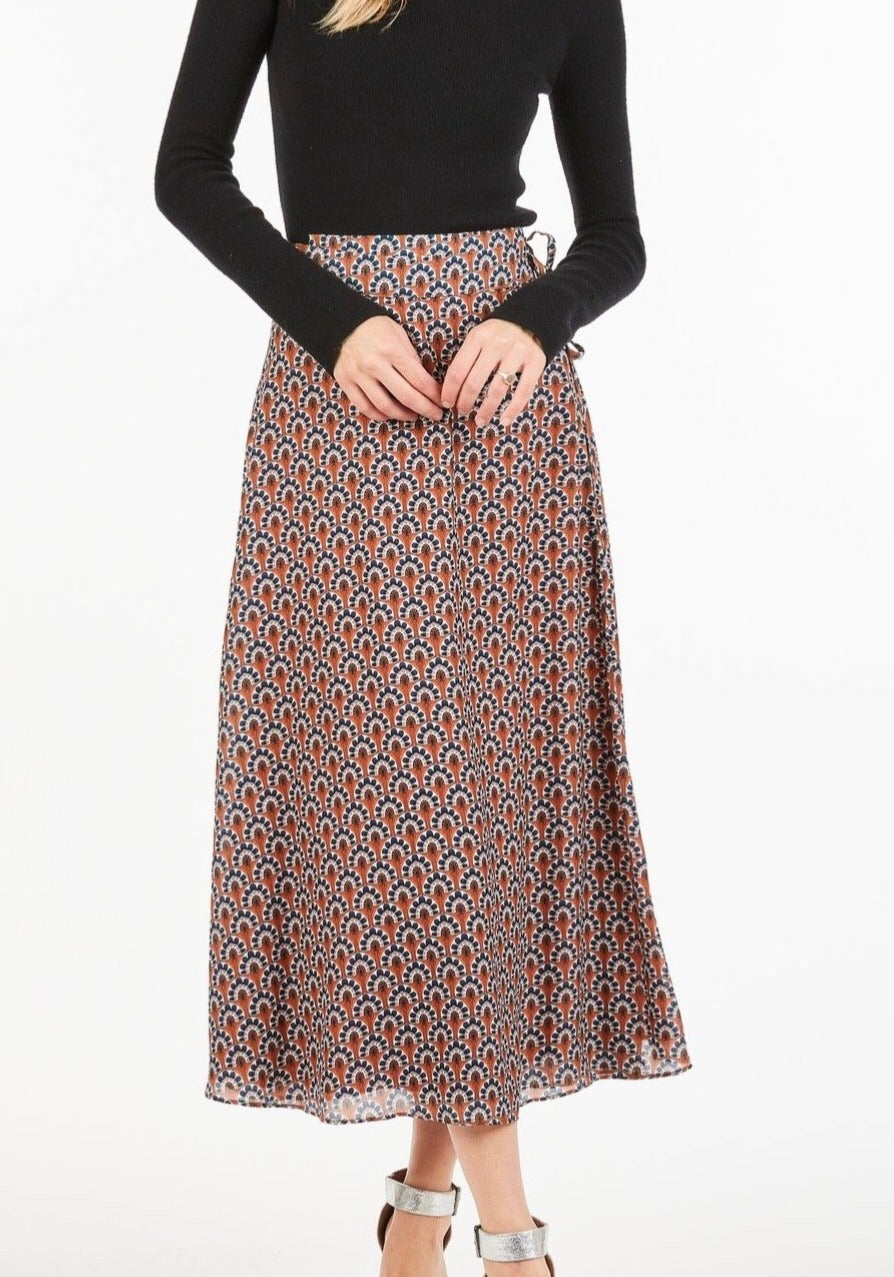 Pricilla Printed Midi Wrap Skirt
