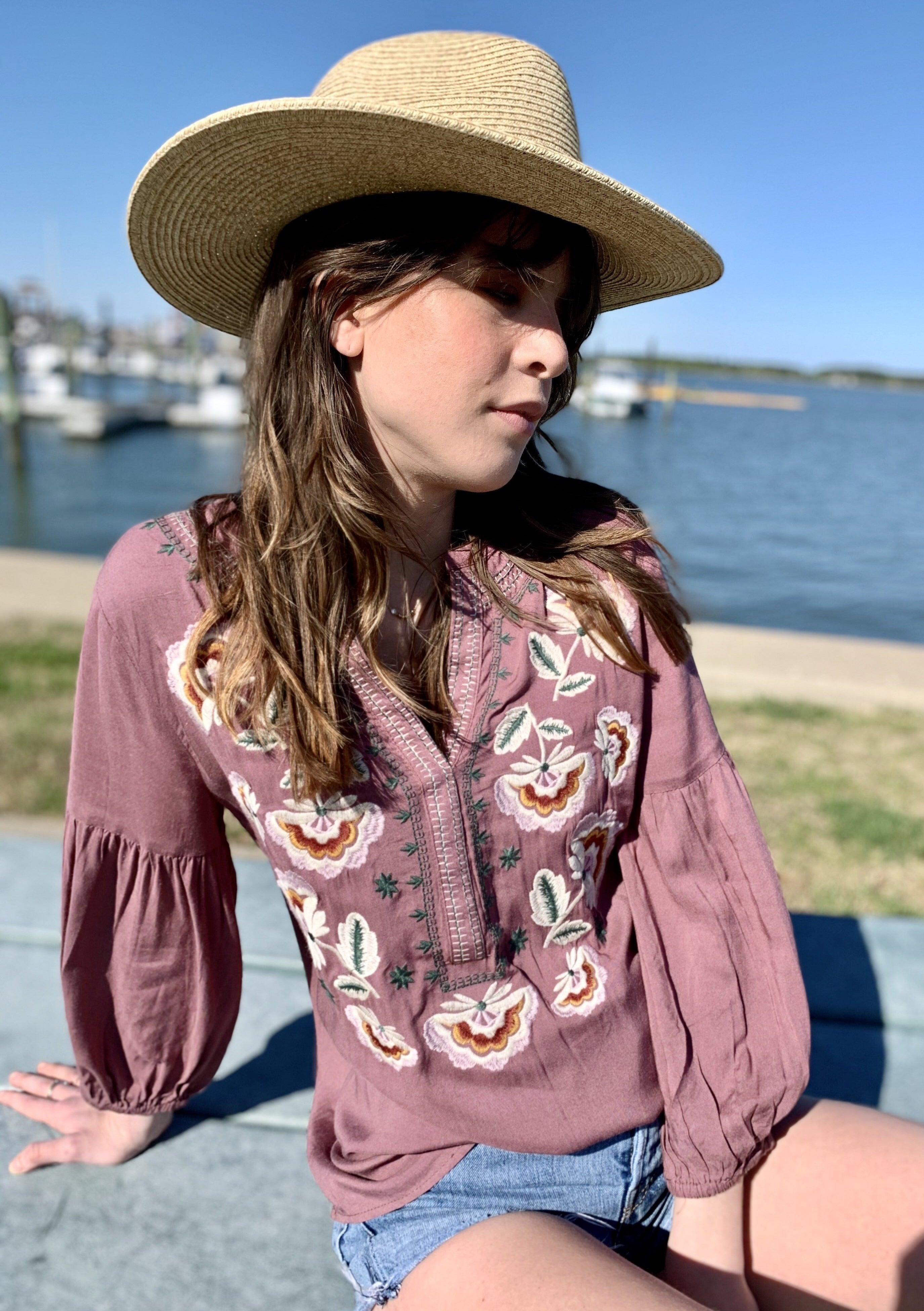 Madly In Love Mauve Floral Embroidered Top ~ FINAL SALE
