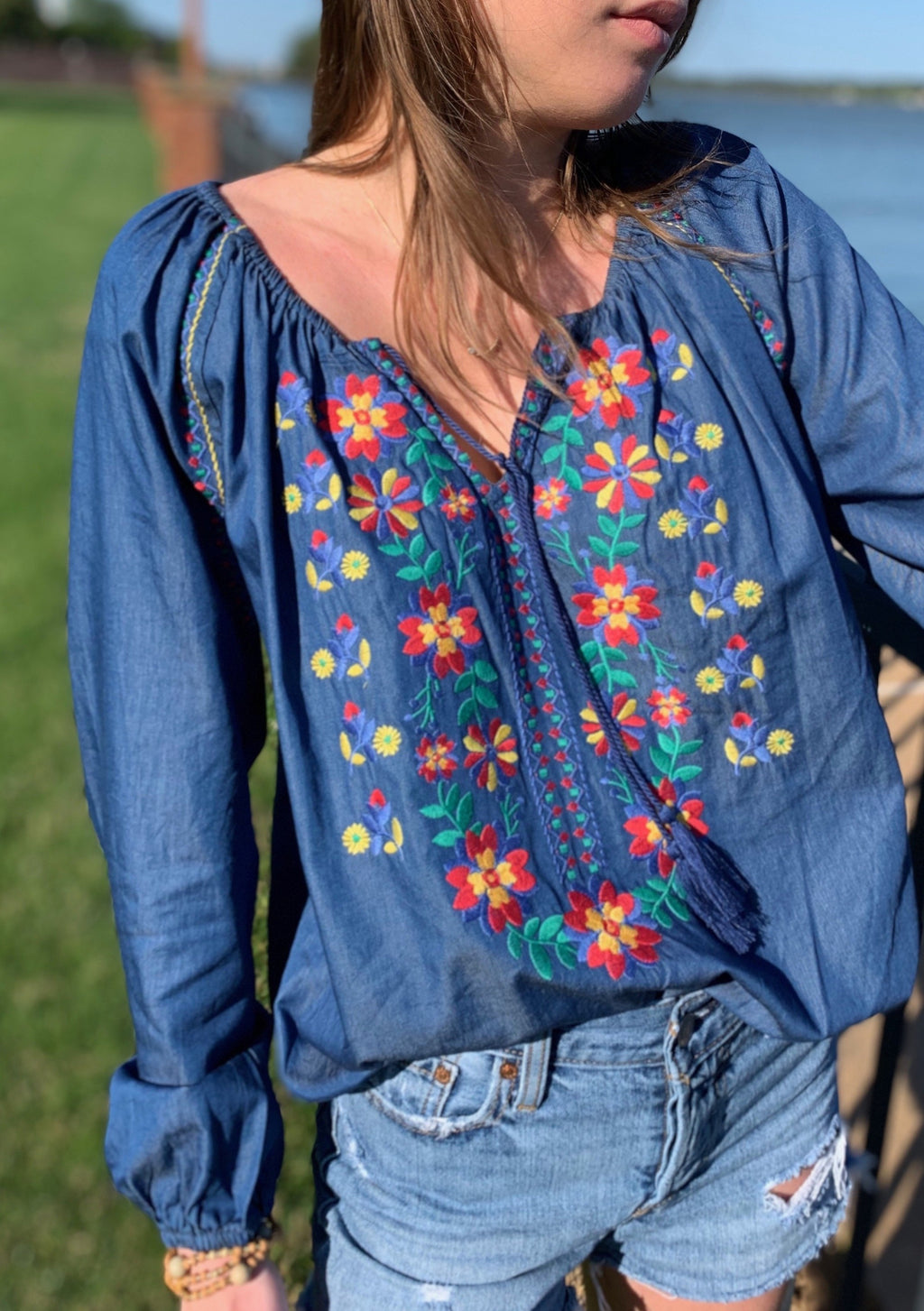 Demi Floral Embroidered Top ~ FINAL SALE