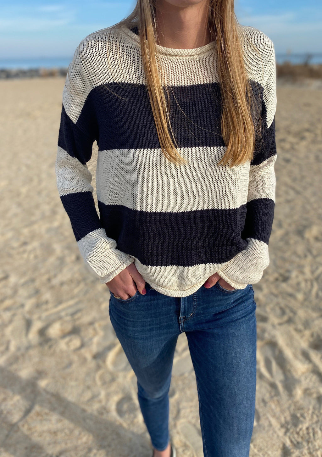 Nautical Rolled-Neck Striped Sweater