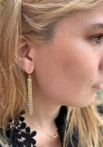 Hammered Metal Gold Bar Fashion Earrings