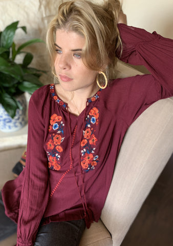 Royal Rose Embroidered Top