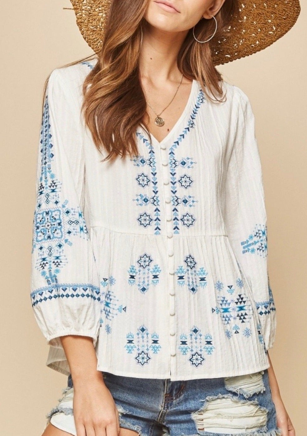 Summer Breeze Embroidered Baby Doll Top