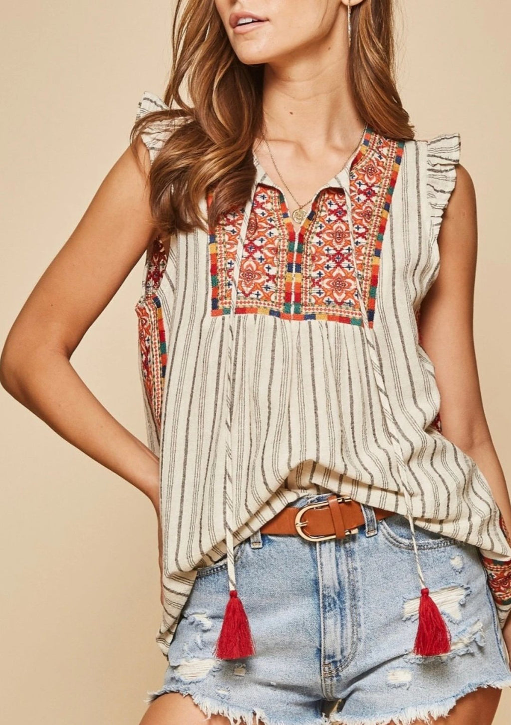 Savanna Jane Mosaic Embroidered Top