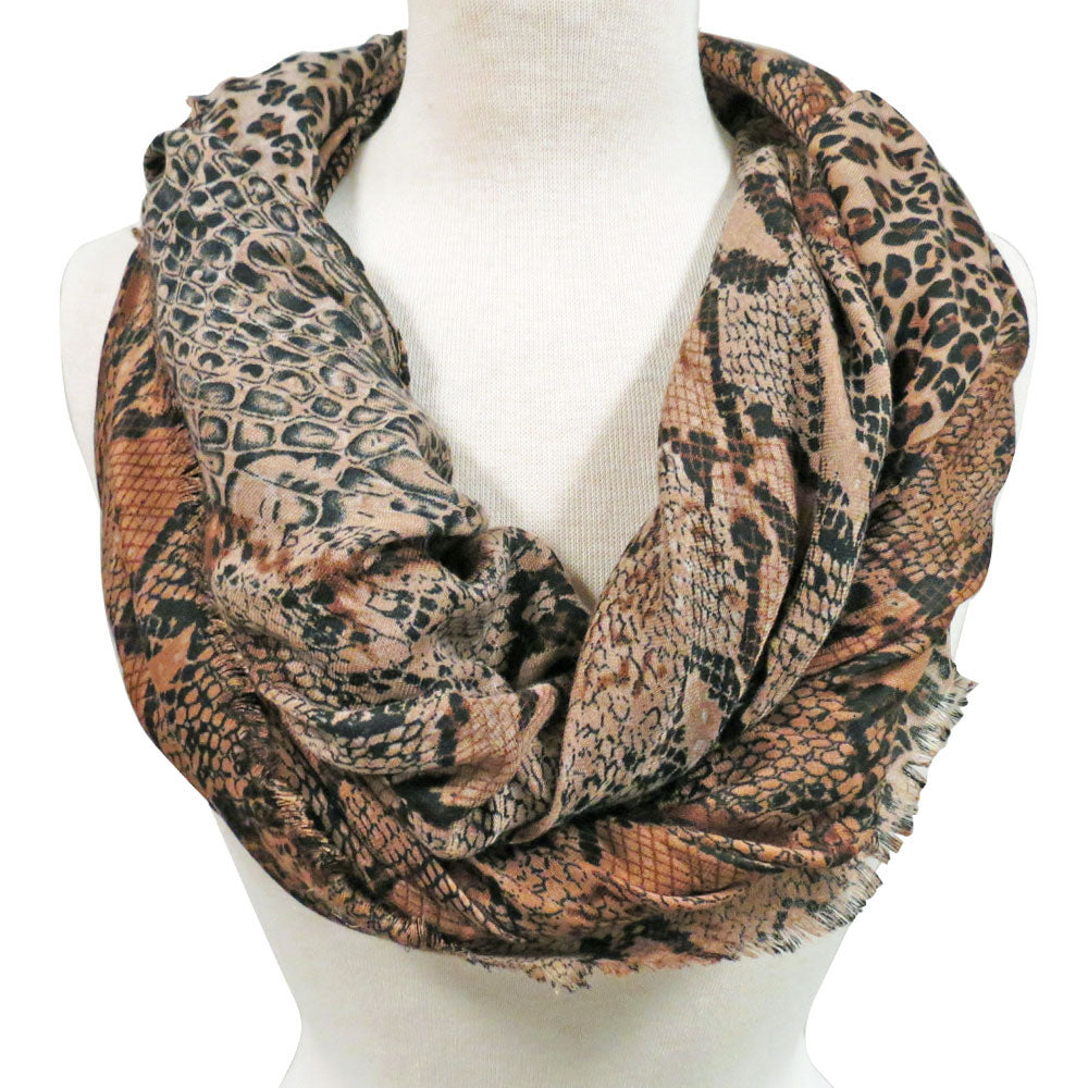 Animal Print Scarf in Brown