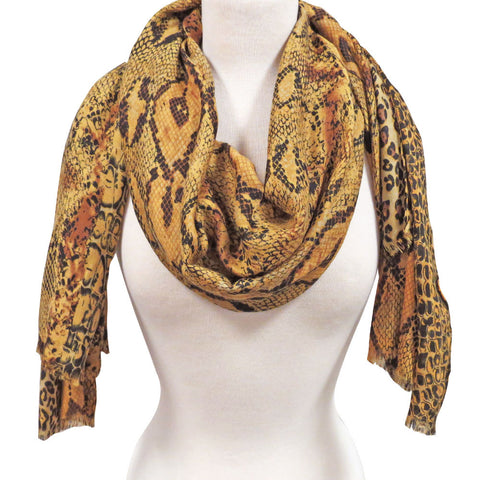Animal Print Scarf in Mustard