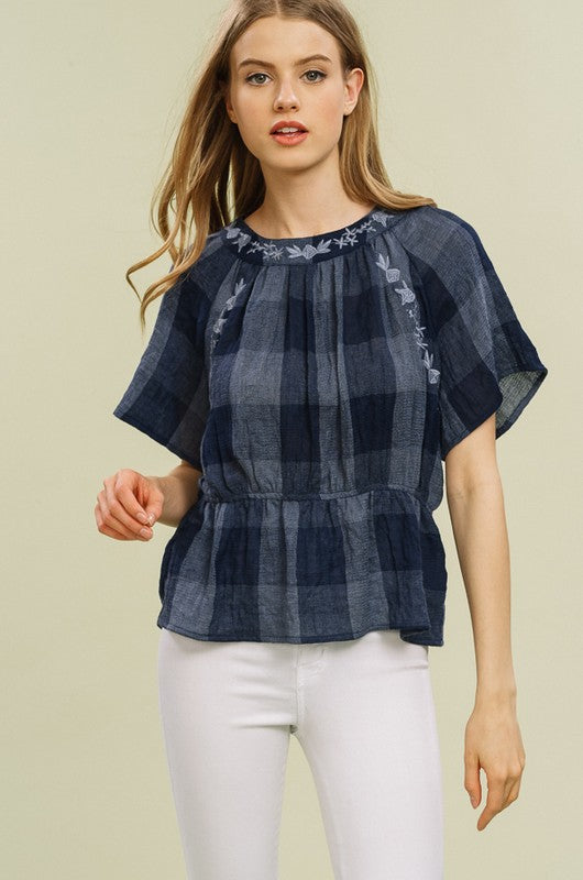 Abbie Checkered Embroidered Collar Top