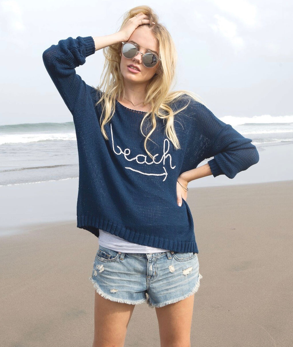 Wooden Ships Navy To The Beach Sweater