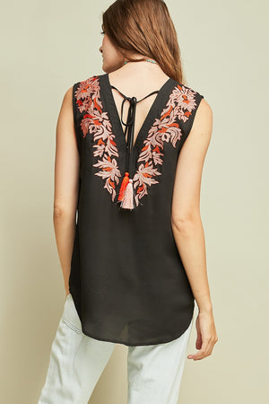Kevi Embroidered V-Neck Top with Tassel Tie