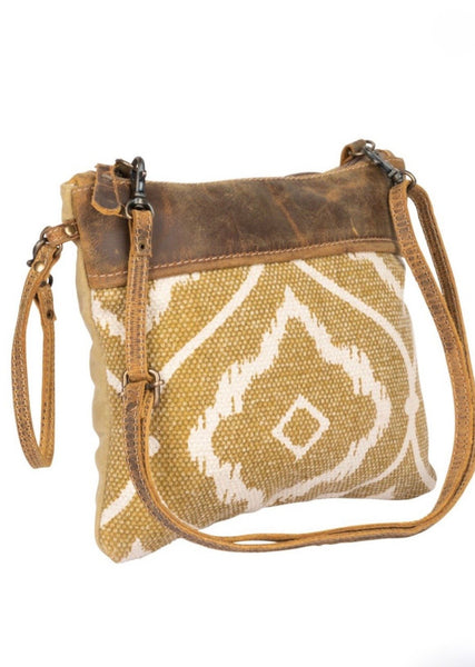 Chocolate Caramel Small Cross-body/ Wristlet Carpet Bag