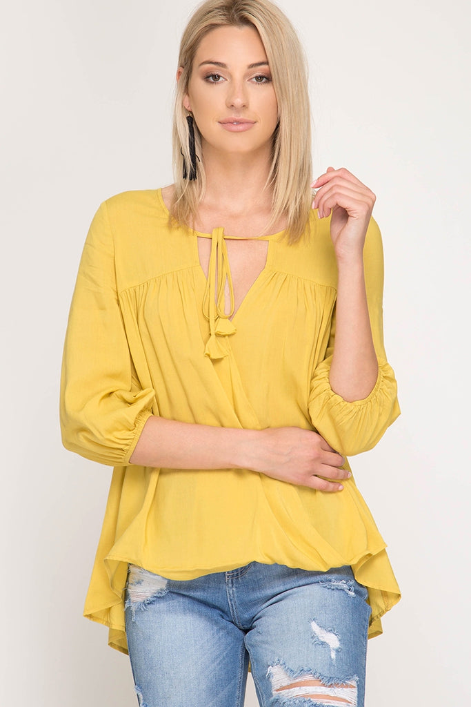 Jessica Surplice Woven Top with Front Tassel