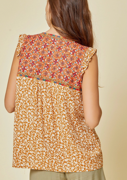 Marigold Flutter Sleeve Embroidered Top