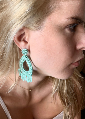 Oval Beaded Tassel Earrings
