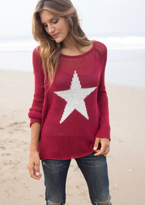 Wooden Ships Red, White and Blue Star Crewneck Sweater