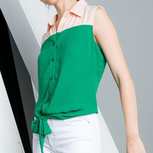 THML Classic Color-Block Front Tie Top