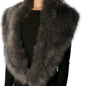 Luxurious Charcoal Gray Faux Fur Wrap